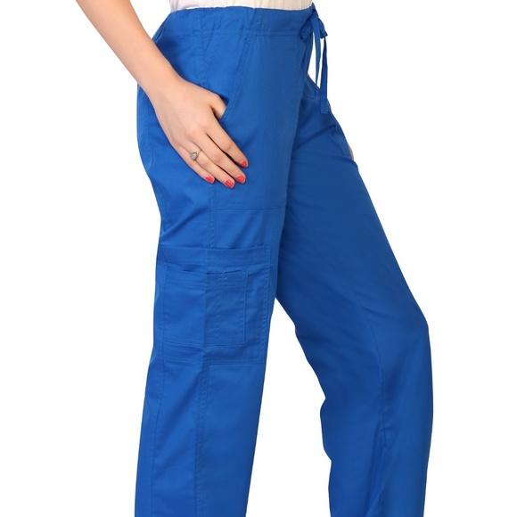 77d221b05d6  NWT  Women s Stretch Royal Blue Cargo Scrub Pant
